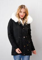 White Faux Fur Trim Hooded Parka Coat Black