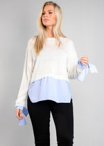 White Knitted Jumper with Blue Stripe Shirt Hem Multi