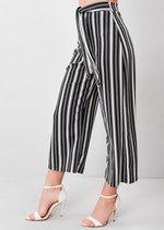White Stripe Tie Waist Culottes Black