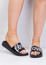 Wide Strap Love Slider Sandals Black