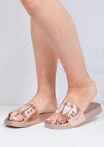 Wide Strap Love Slider Sandals Rose Gold
