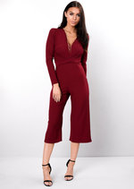 Wrap Front Cropped Jumpsuit Burgundy Red