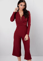 Wrap Front Cropped Palazzo Jumpsuit Burgundy Red