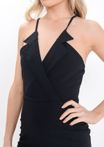 Wrap Front Mini Dress Black