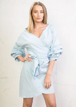 Wrap Over Puff Sleeve Bow Tie Shirt Dress Blue