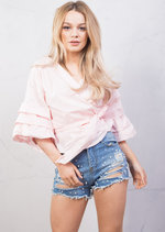 Wrap Over Puff Sleeve Crop Bow Tie Shirt Cotton Top Pink