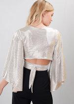 Wrap Over Wide Sleeved Metallic Crop Top Silver