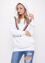Stripe Hooded Sweatshirt Jumper White