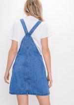 ZipFront Denim Pinafore Dress Blue