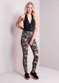 Camouflage Print High Waisted Knee Ripped Skinny Jeans