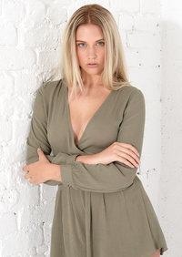 Evie Long Sleeve Wrap Playsuit Khaki