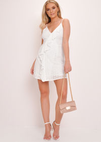Broderie Anglaise Crochet Lace Frill Skater Dress White