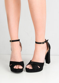 Cross Over Peep Toe Platform Heeled Sandals Faux Suede Black
