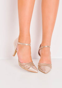 Diamante Mesh Embellished Kitten Court Heels Gold