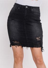 Extreme Ripped Mini Bodycon Denim Skirt Dark Black