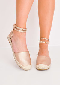 Faux Leather Studded Espadrilles Flats Rose Gold