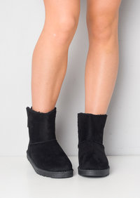 Faux Suede Lined Pull On Bow Short Ankle Boots Black