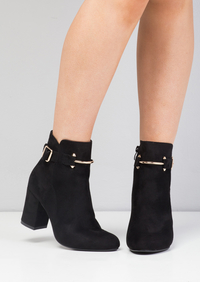 Faux Suede Buckle Ring Block Heel Ankle Boots Black