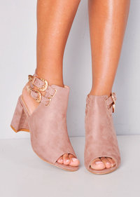 Faux Suede Western Buckle Heeled Ankle Boots Pink