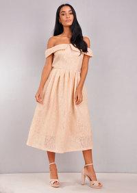 Floral Lace Off The Shoulder Midi Dress Beige