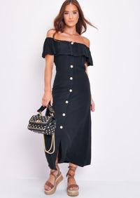 Frilled Bardot Button Through A Line Maxi Dress Black