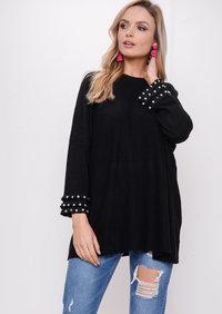 Fringe Pearl Hem Sleeve Knitted Jumper Dress Black