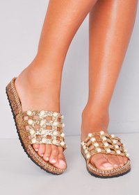 Glitter Pearl Studded Caged Sliders Gold
