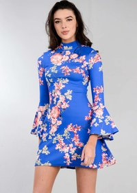 High Neck Frill Sleeve Multi Floral Mini Swing Dress Blue