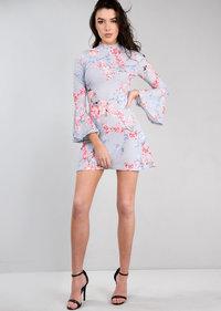 High Neck Frill Sleeve Multi Floral Mini Swing Dress Grey