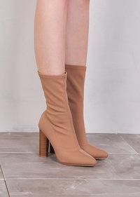 Knit Stretchy Sock Ankle Boots Mocha