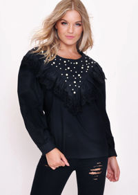 Lace Pearl Embellished Blouse Top Black