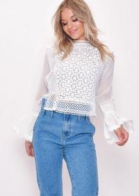 Long Sleeve Crochet Lace Top White