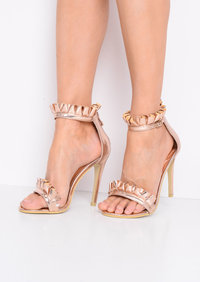 Metallic Frill Strappy Stiletto Heeled Sandals Rose Gold