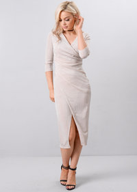 Metallic Glitter Wrap Over Midi Dress Beige