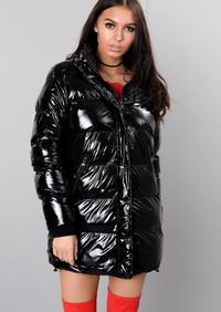 Padded High Shine Longline Puffer Coat Black