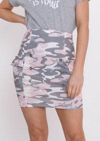 Pastel Camo Bodycon Skirt Pink