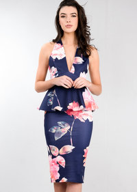 Peplum Frill Floral Bodycon Midi Dress Navy Blue