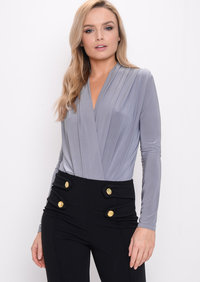 Pleated Long Sleeve Plunge Bodysuit Grey