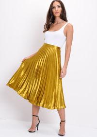 Pleated Satin Metallic Midi Skirt Mustard Gold