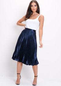 Pleated Satin Metallic Midi Skirt Navy Blue