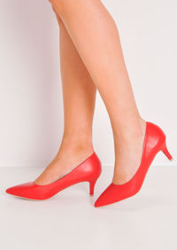 Pointed Faux Leather Court Heels Red