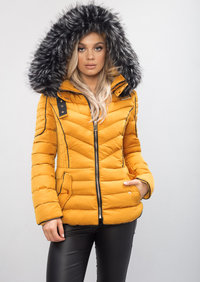 Quilted Faux Fur Hooded Padded Puffer Coat Mustard Yellow