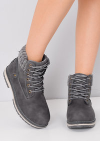 Ribbed Trim Lace Up Cleated Chukka Ankle Boots Grey