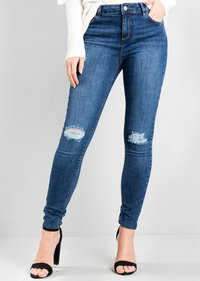 Ripped Knee Fray Hem Skinny Jeans Blue