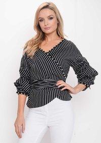 Ruffle Sleeve Stripe Pearl Wrap Front Top Black