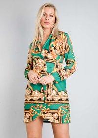 Scarf Print Button Front Blazer Dress Green