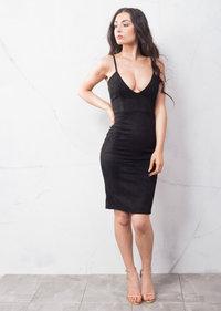 Strappy Plunge Neck Faux Suede Midi Dress Black