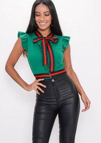 Stripe Frill Bodysuit Green