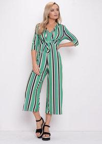 Stripe Tie Front Jumpsuit Green
