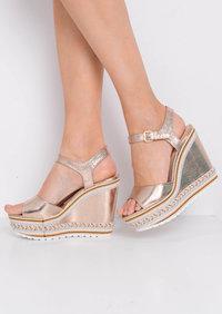 Striped Metallic Wedge Heeled Sandals Rose Gold
